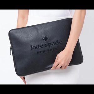 "NWT KATE SPADE Logo 15"" Leather Laptop Case"